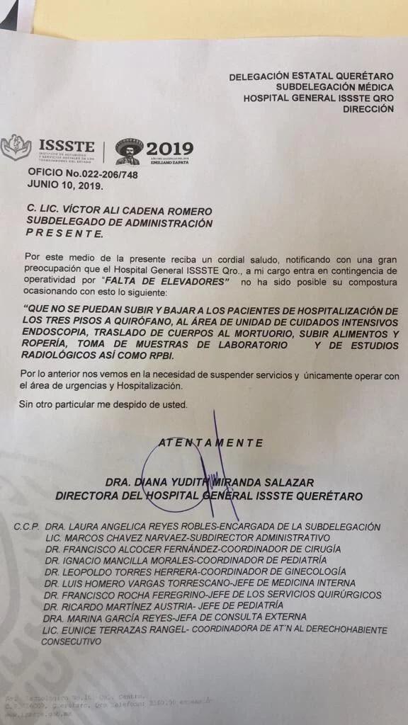 Hospital del ISSSTE en Querétaro entró en contingencia por falta de elevadores