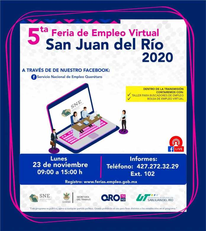 Realizarán dos ferias de empleo con más de 900 plazas formales en Querétaro y SJR