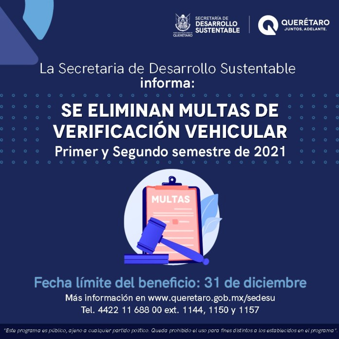 Inicia periodo de condonación de multas de verificación en Querétaro