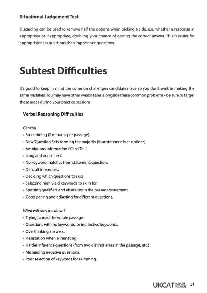 UCAT Crash Course - Notes, Materials, Workbook | 6med