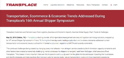 Transplace 17th Annual Shipper Symposium