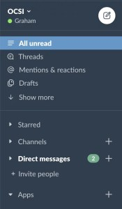Screenshot of Slack channel choose, showing everything collapsed