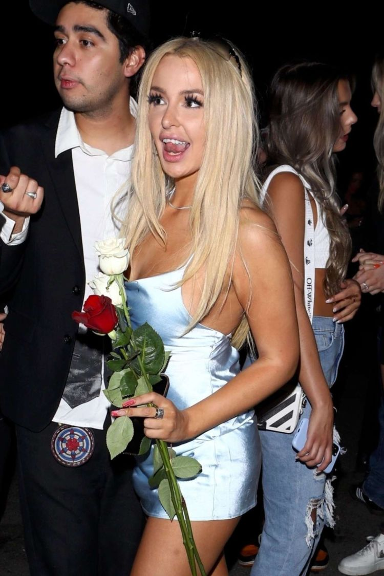 Tana Mongeau Candids In A Short Dress At Hyde In Hollywood