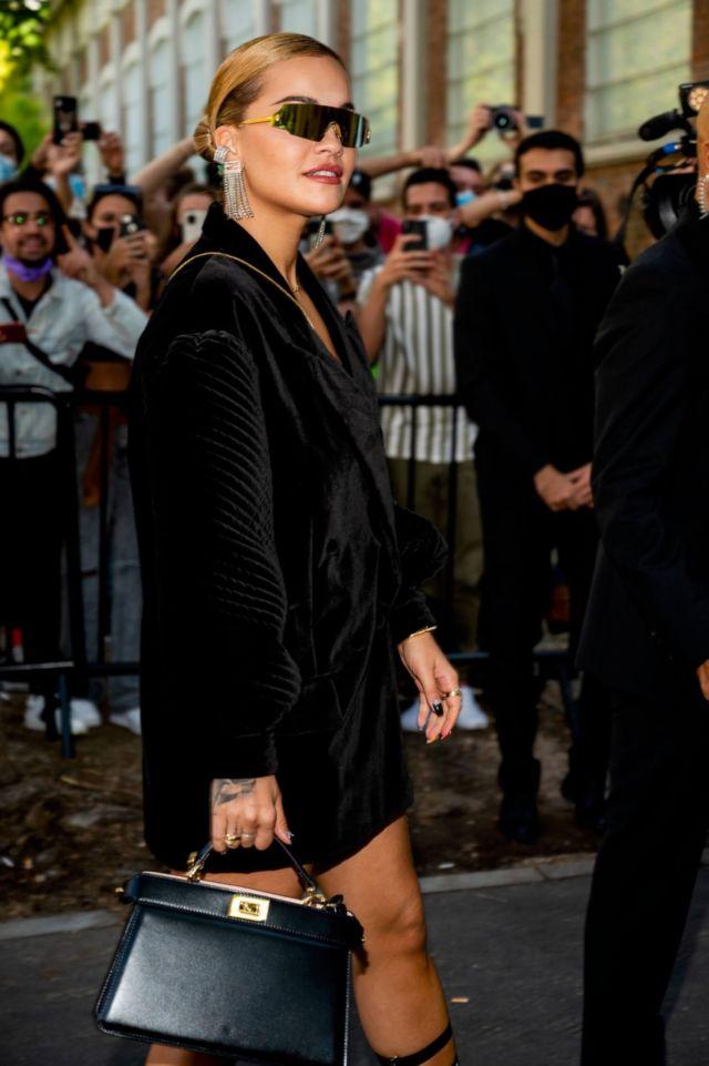 Rita Ora Arrives In Black At The Fendi's Fashion Show In Milan