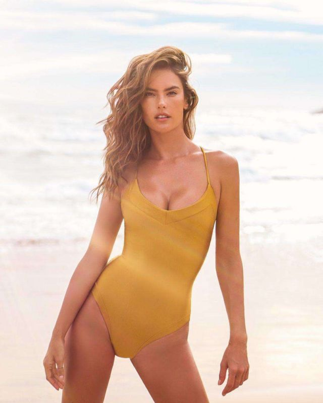 Alessandra Ambrosio Poses For A Swimwear Photoshoot At The Beach