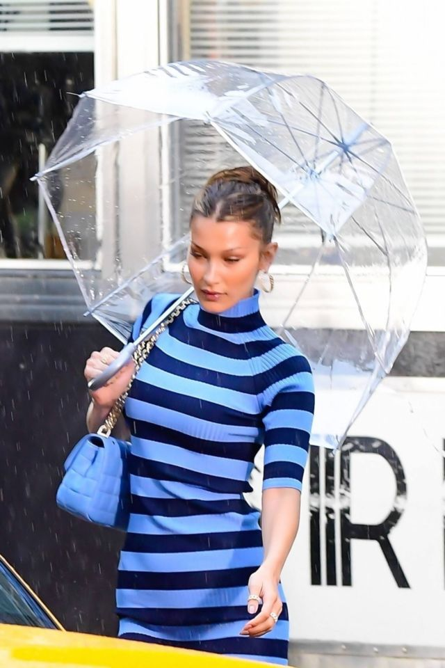 Bella Hadid In Striped Dress For Michael Kors Photoshoot In New York