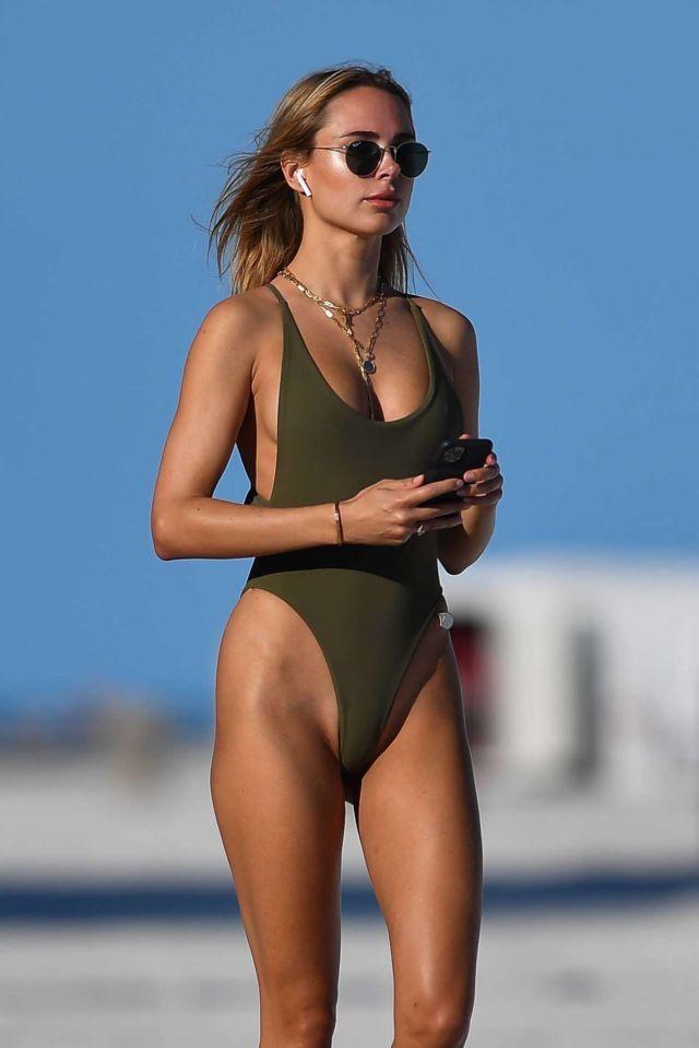 Kimberley Garner In An Olive Green Swimsuit In Miami Beach