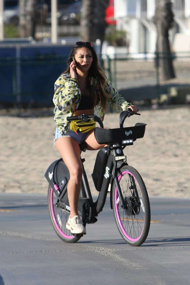 Montana Yao Going For A Workout On A Bicycle At Santa Monica Beach