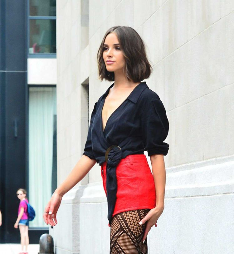 Olivia Culpo Candids In Fishnet Out In New York