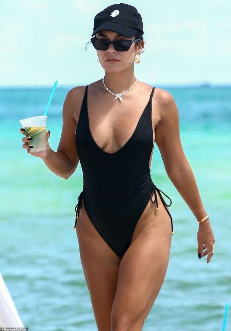 Vanessa Hudgens Vacationing In A Black Swimsuit At The Beach In Miami