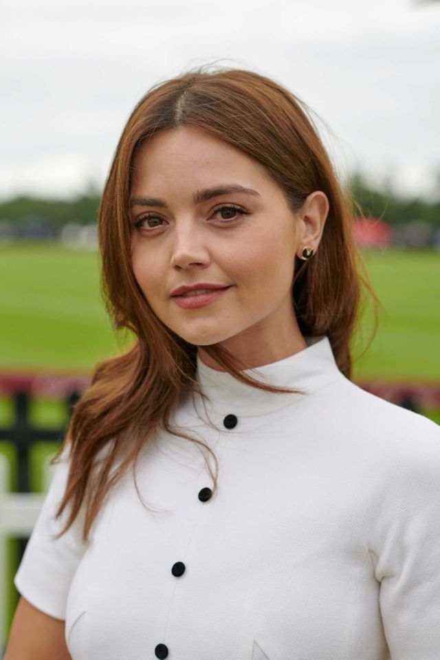 Jenna Coleman In Pure White At Cartier Queens Cup Polo