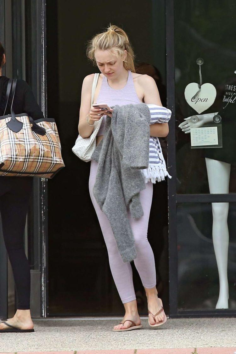 Dakota Fanning Candids While Leaving A Gym In LA