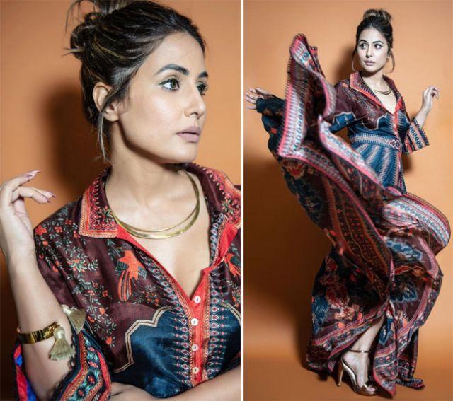 Hina Khan Slays In A Navy Silk Dress