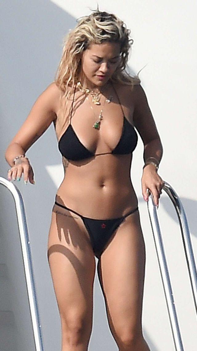 Rita Ora Takes A Jet Skii Ride In Black Bikini In Porto Cervo