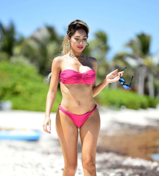 Farrah Abraham Takes A Bicycle Ride On A Beach In Tulum, Mexico