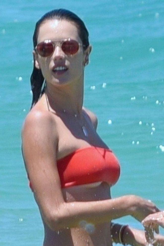 Alessandra Ambrosio Candids In Red Bikini At A Beach In Brazil