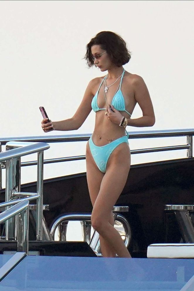 Bella Hadid Candids In Bikini On A Yacht In St Barts
