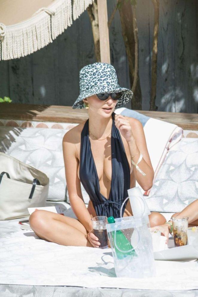 Emily Ratajkowski Candids In A Black Swimsuit At Miami Beach