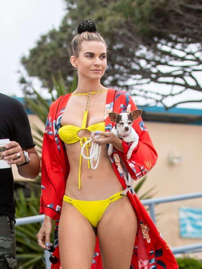 Rachel McCord Kayaking In A Yellow Bikini At Marina Del Rey