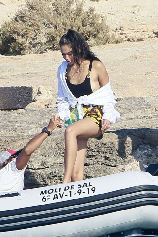 Shanina Shaik On A Yacht With Friends In Formentera