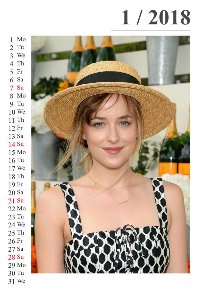 Click to Enlarge - Dakota Johnson's Exclusive Calendar Of 2018