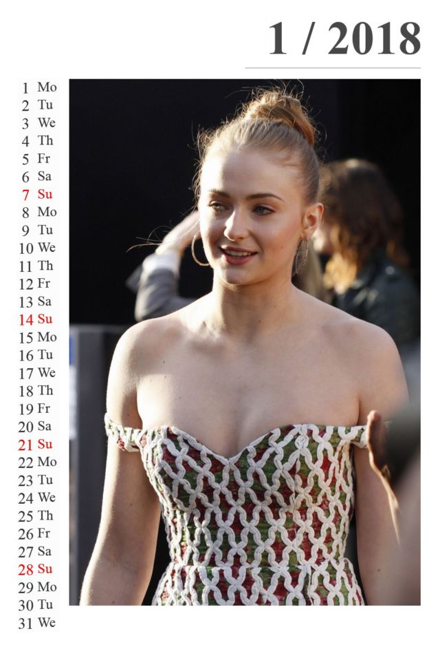 Click to Enlarge - Beautiful Sophie Turner's 2018 Calendar