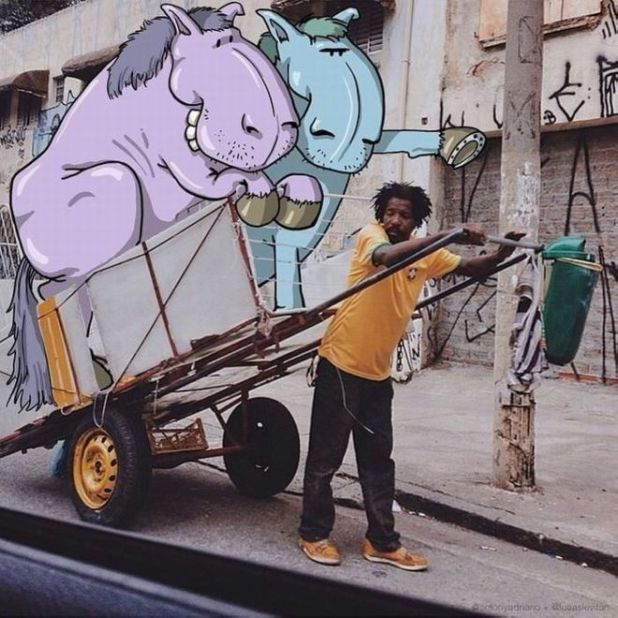 Brazilian Artist Makes Artworks And Merge Them Into Real Life