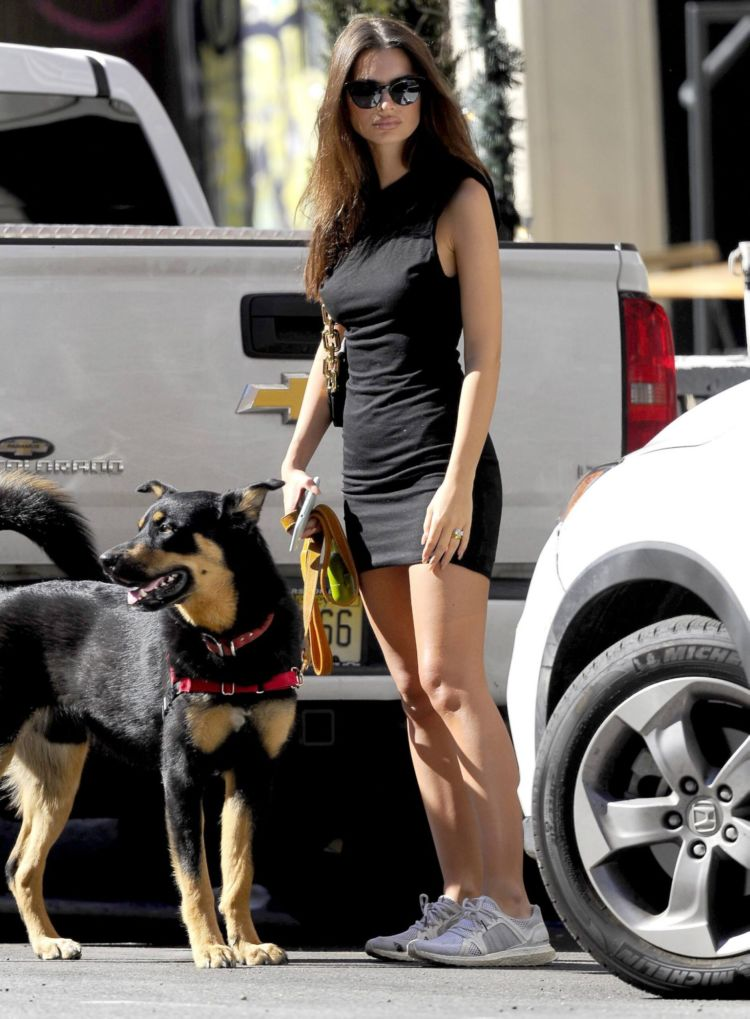 Emily Ratajkowski In A Black Dress Walking Her Dog Out In New York