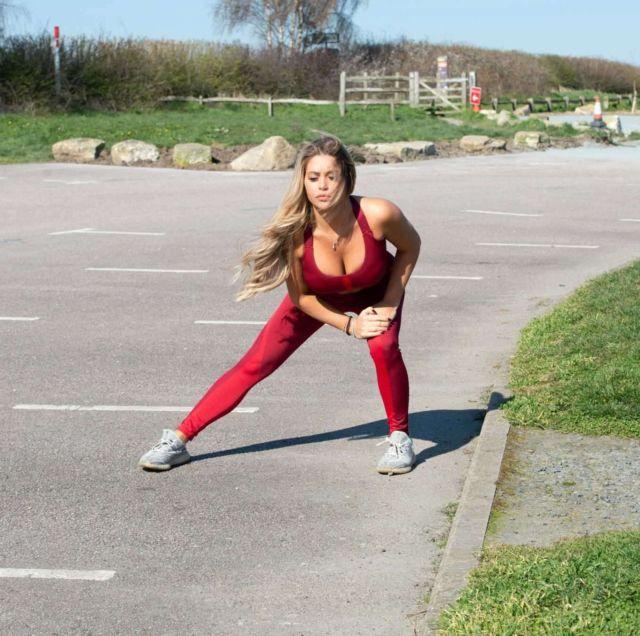 Bianca Gascoigne jogging outside