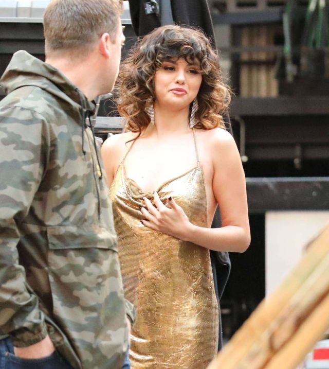 Selena Gomez Spotted In A Golden Dress On A 'Rare' Music Video Sets