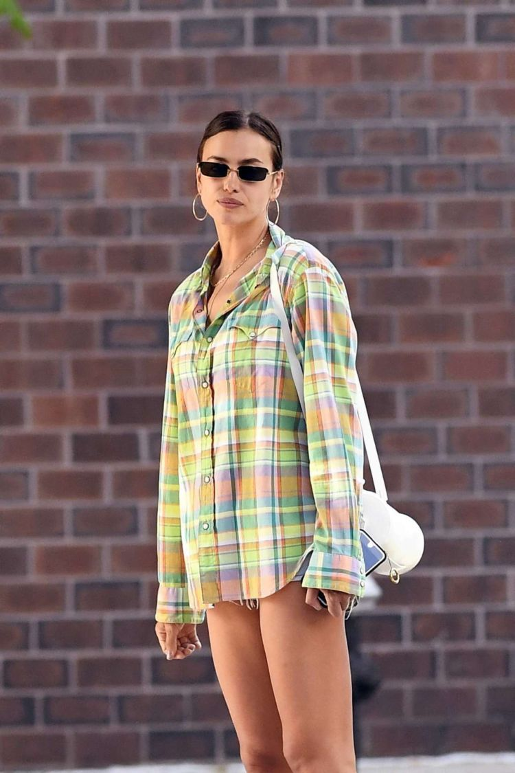 Irina Shayk Candids In A Check Shirt And Shorts Out In New York