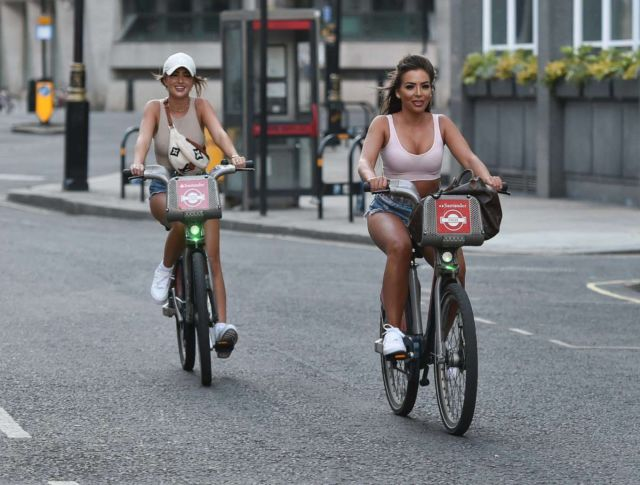 Elma Pazar And Georgia Steel Cycling In Denim Shorts Out In London