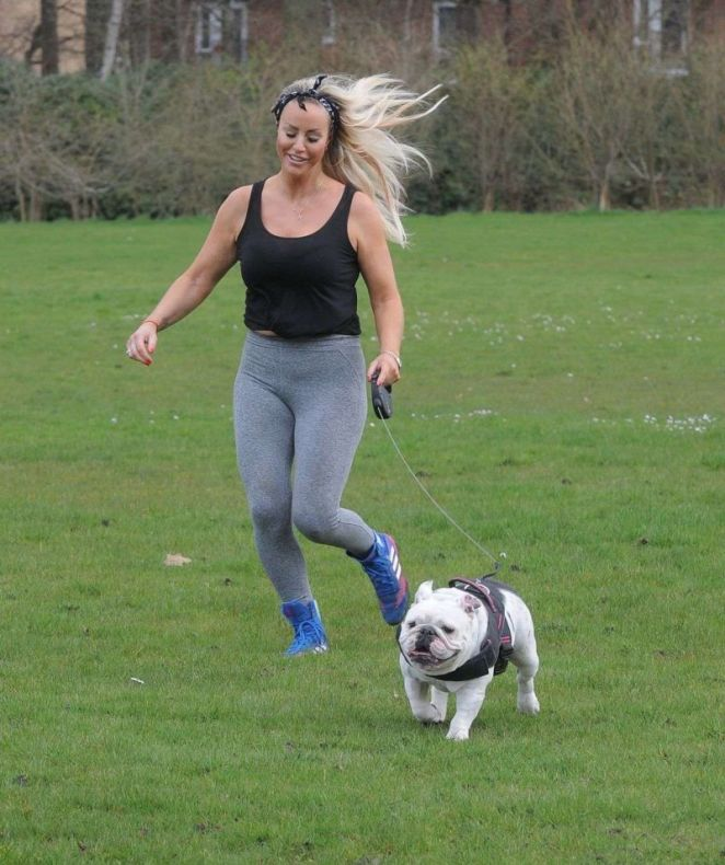 Fitness Freak Danielle Mason Working Out At A Park In London