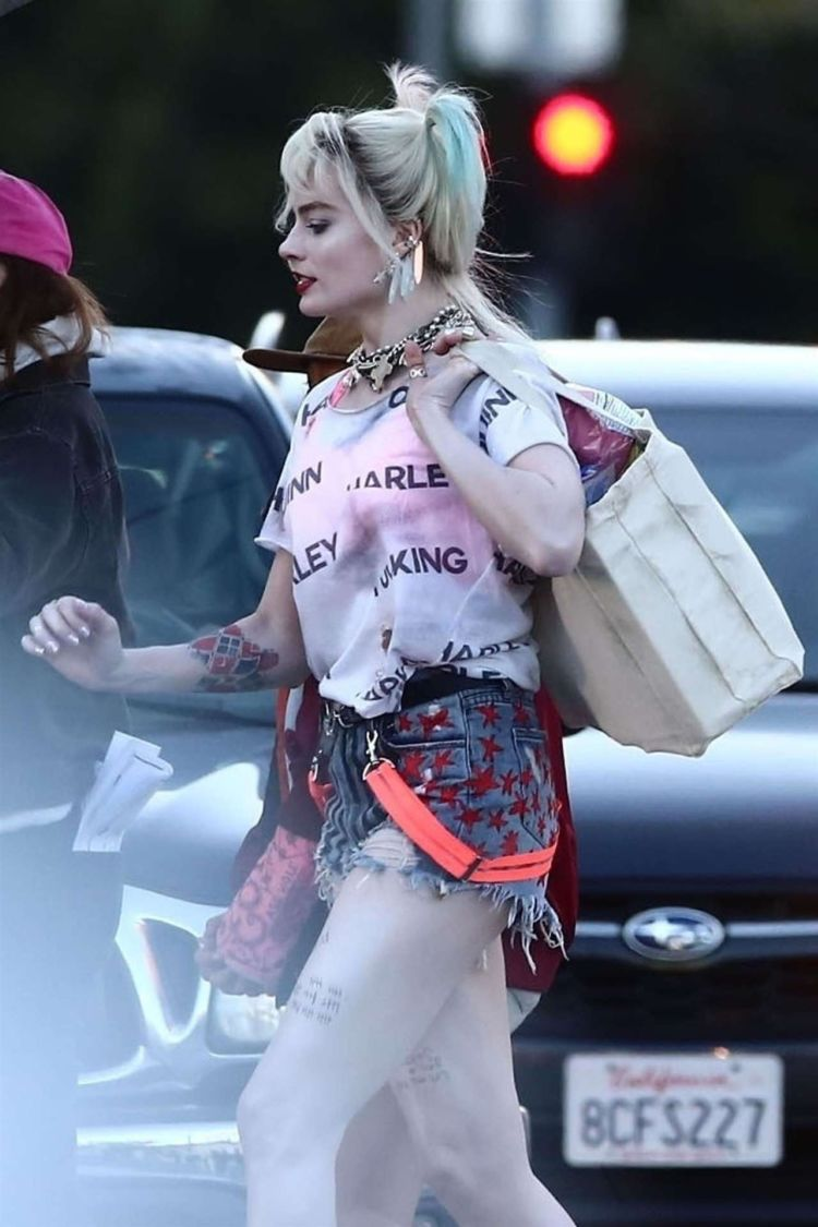 Margot Robbie And Mary Elizabeth Winstead Shooting On The Sets Of 'Birds of Prey'