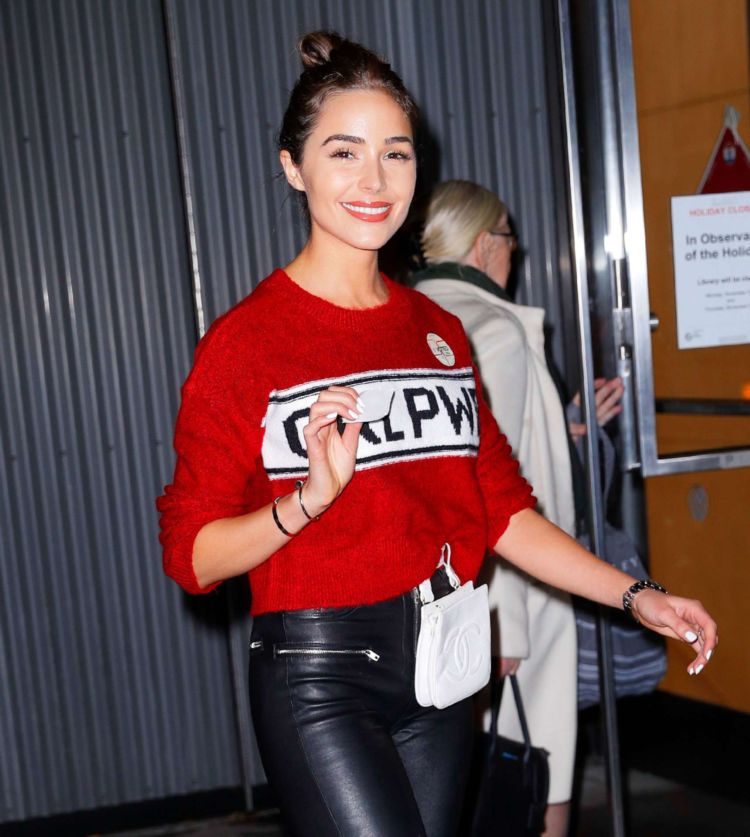 Olivia Culpo Out In Red And Black Outfit In New York