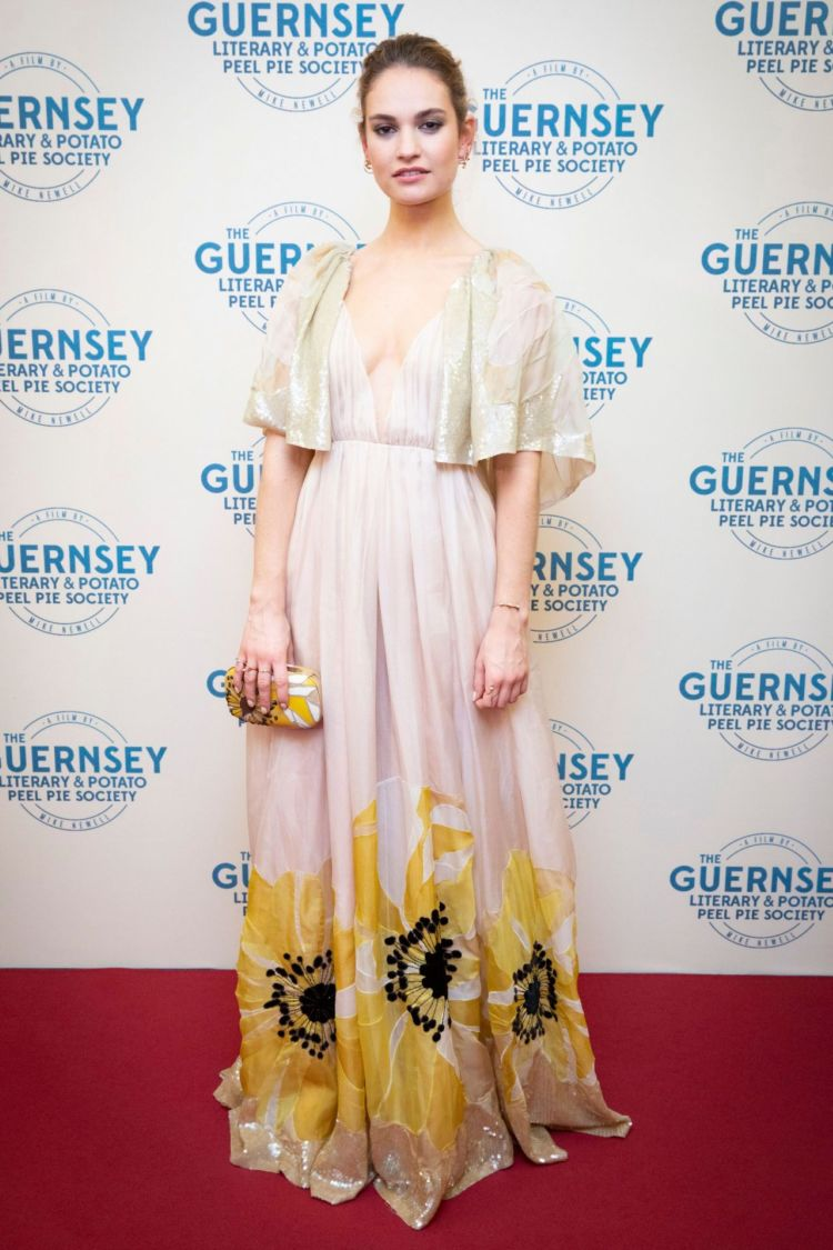 Gorgeous Lily James Attends 'The Guernsey Literary and Potato Peel Pie Society' Premiere