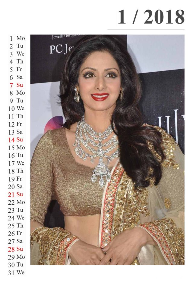 Click to Enlarge - Sridevi Exclusive Calendar For 2018