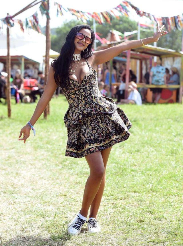 Maya Jama At The Glastonbury Festival At Worthy Farm In England