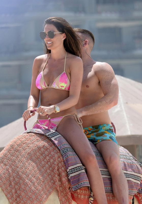 Danielle Lloyd Camel Riding In Bikini On Dubai Beach
