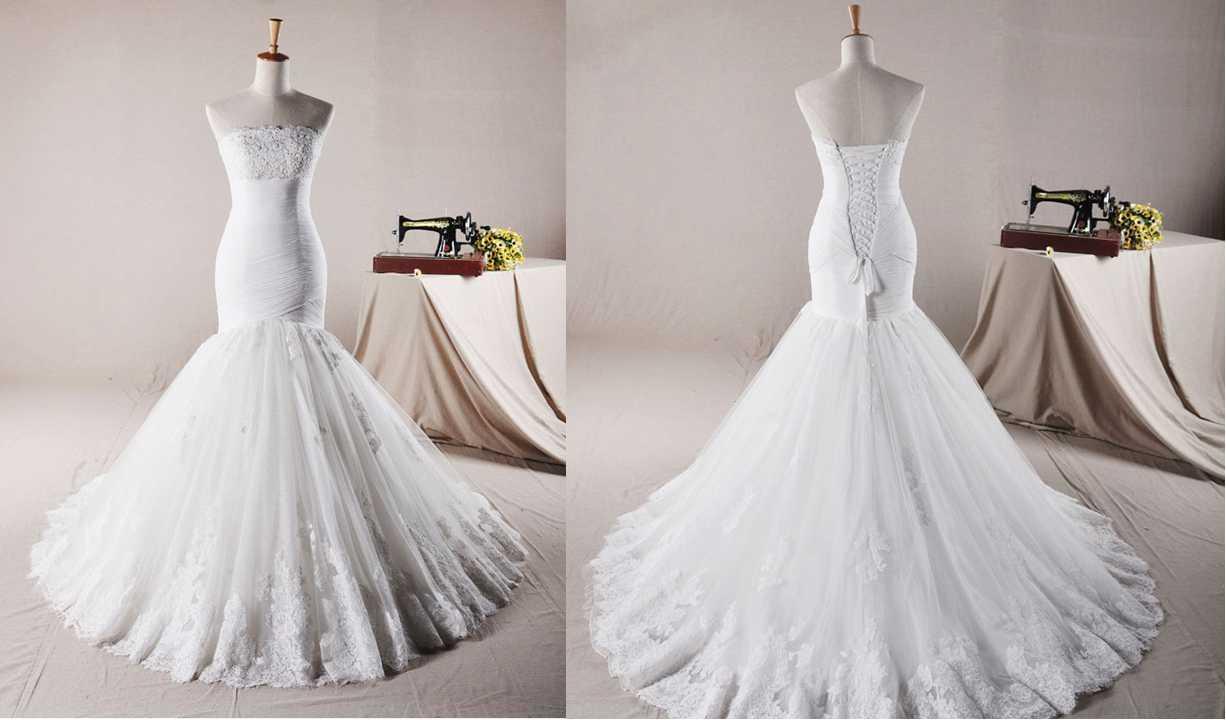 STRAPLESS TRUMPET / MERMAID NET WEDDING DRESS Wedding