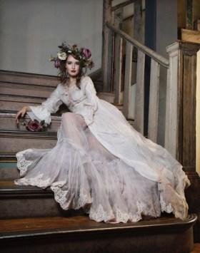 Vintage bride on stairs
