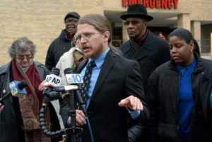 Press conference on March 31st, with Mumia's family and supporters - Photo by David McKeown