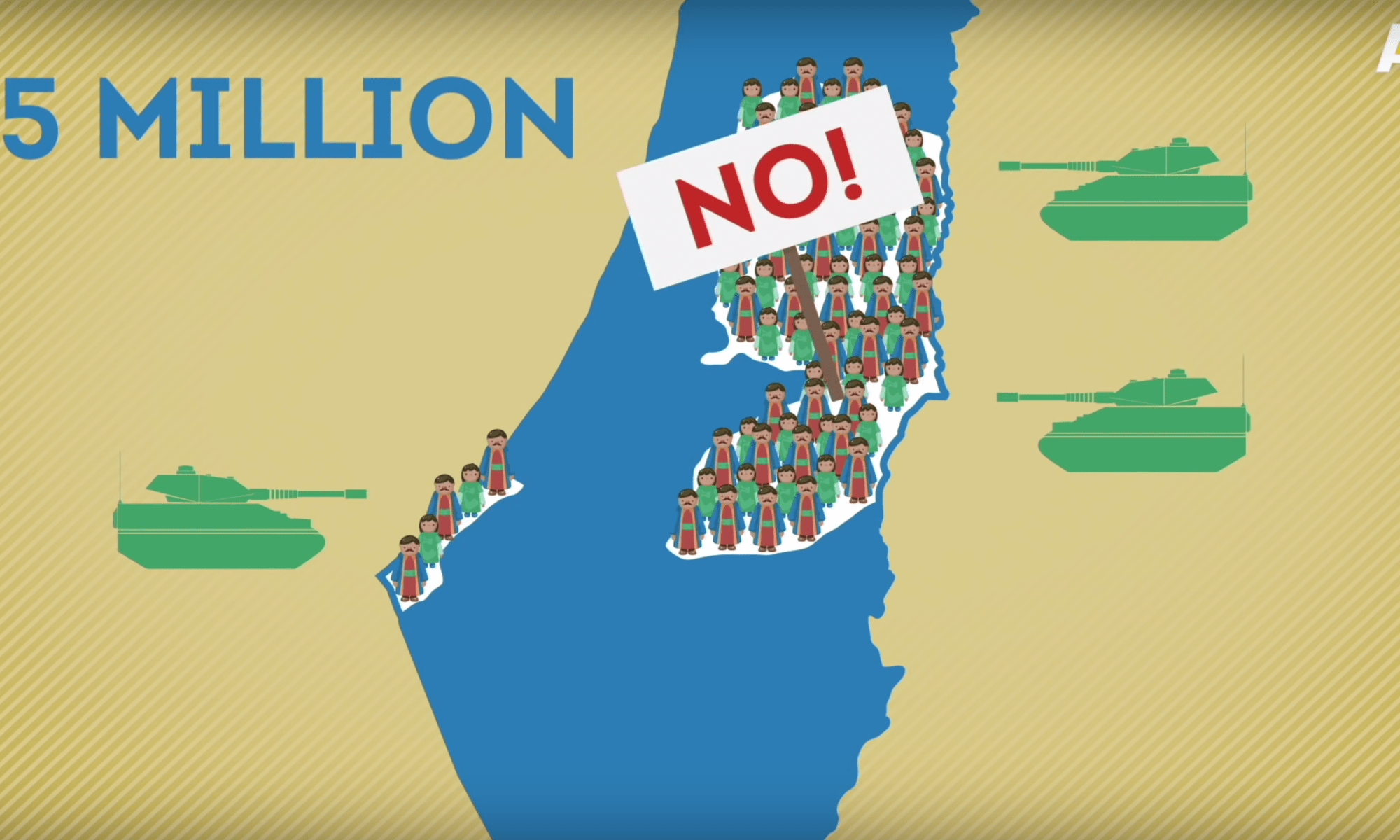 Screenshot uit de video 'Where did the Palestinians go?