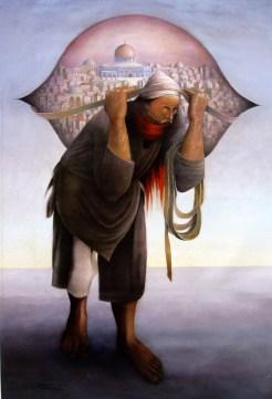 De remake van Jamel al-Mahamel van Sliman Mansour (ca 2000)