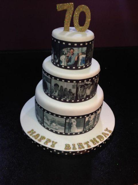 film reel cake 70th birthday