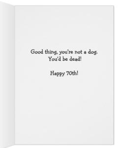 Shocked Golden Retriever 70th Birthday Card