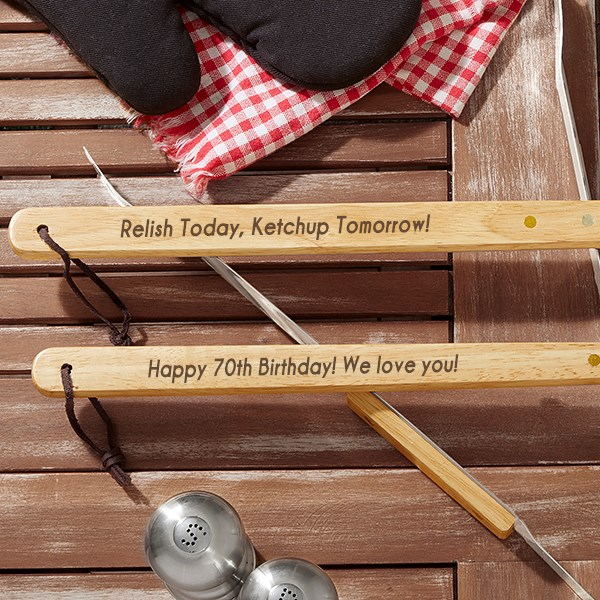 Personalized BBQ Utensil Set - 70th Birthday Gift Ideas For Dad