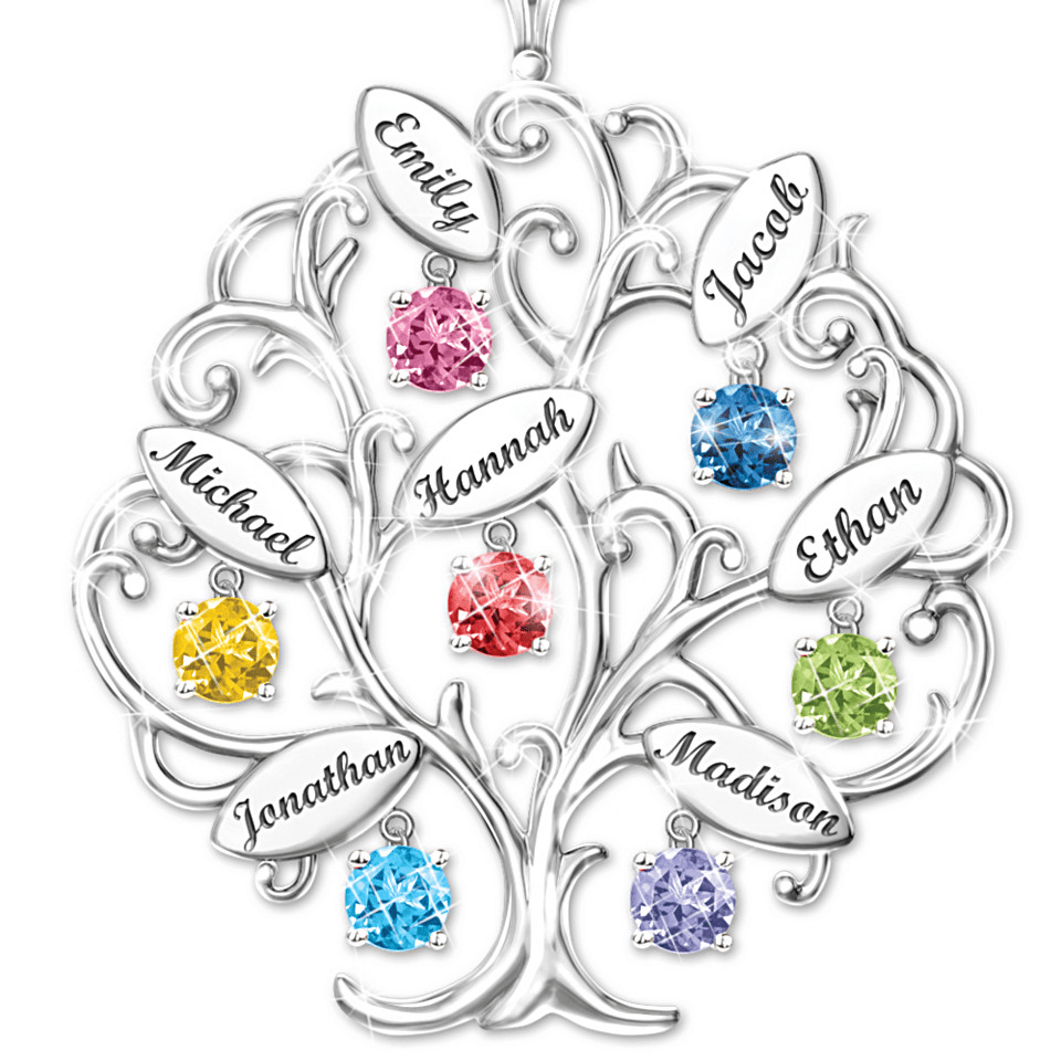 Personalized Family Tree Necklace - 70th Birthday Gift Ideas for Mom