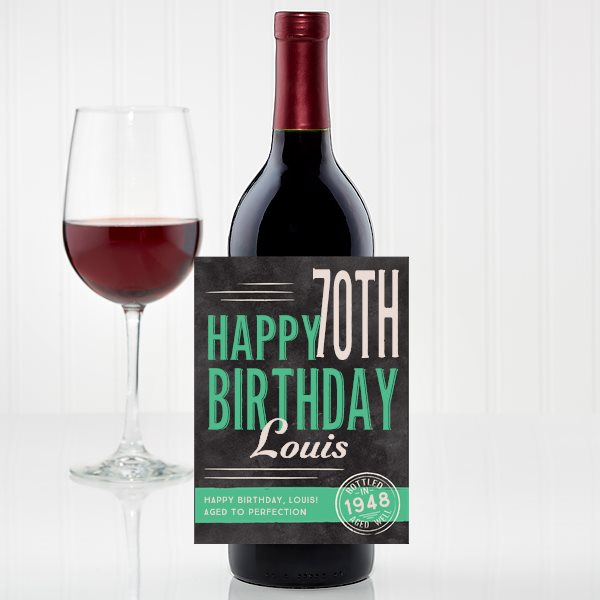 Personalized Wine Labels - Perfect 70th Birthday Party Decoration Idea