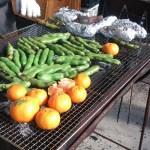 そら豆とミカンと芋のバーべキュー